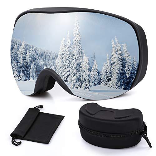 Outope Skibrille mit Anti-Nebel und UV-Schutz, OTG Ski Snowboard Brille Dual-Linse für Damen und Herren, Snowboardbrille für Schneemobil-, Skifahren oder Skaten -