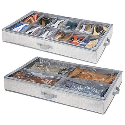Mdesign set da 2 contenitori per sotto letto con 4 vani – contenitore sottoletto con cerniera per indumenti, scarpe e co. – scatole per vestiti, scarpe e accessori – grigio
