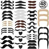 Schnurrbart selbstklebend Klebebärte, Rymall 48 Stück Bart Mix gemischt zum Ankleben Klebebärte falsche Bärte, Vier Farben