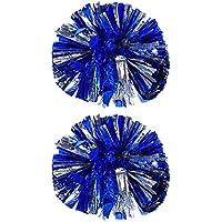 2 Piezas de Pompones de Animadora Bola de Flor Metálica Pompones de Anillo de Plástico para Grupo de Animadores y Baile (Azul y Plata)
