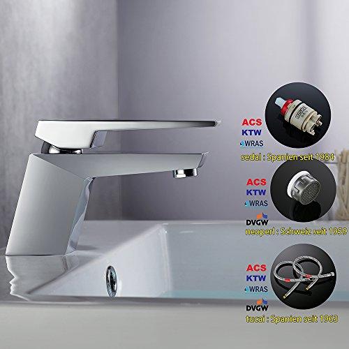 Homelody – Moderne Design-Waschtischarmatur, Einhebelarmatur, Keramikkartusche, Perlator, Chrom - 5