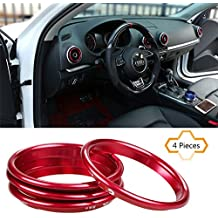 COGEEK 4pcs/set Interior Dashboard Air Conditioning Vents Decoration Trim Air Outlet Ring Circle Car Styling Stainless Steel Decals For A3 (red)