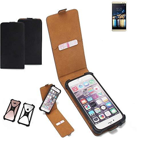 K-S-Trade Flipstyle Hülle für Switel Champ S5003D Handyhülle Schutzhülle Tasche Handytasche Case Schutz Hülle + integrierter Bumper Kameraschutz, schwarz (1x)