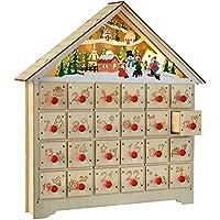 WeRChristmas Pre-Lit Advent Calendar with 24 Pull Out Draws Christmas Decoration, 36 cm - Multi-Colour