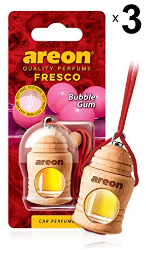 Areon Cool Air Freshener Car Bubble Gum Bubble Gum Odor Liquid Perfume Bottle Mini Original Wood Hang Hanging Red Rearview Mirror Home Office 3D 4ml (3 Pack)