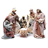 Presepe stile country set 6 pz resina e garza 45 cm