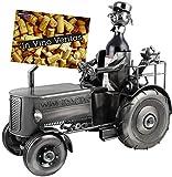 Brubaker XXL Porte-Bouteille 'Tracteur' - Sculpture en Métal - Argent - avec...