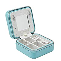 Vlando Small Travel Mirrored Jewellery Box Organizer - Refined Carry-on Jewelries Necklaces Rings Earrings Necklace Storage Case, Blue