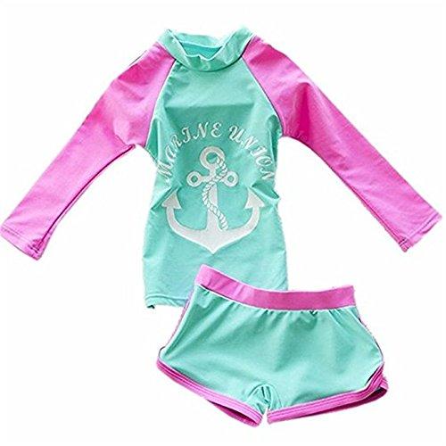 FAIRYRAIN Baby Kleinkinder Mädchen 2er Bade-Set Anker Print Lange Ärmel Bademode Schwimmanzug Rash Guard UV-Schutz 50+ (5-6 Jahre, Grün) -
