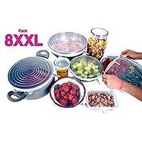 Wise Way Tapas de Silicona Elásticas - 8 Cubiertas Ajustables y Reutilizables, Incluye 2 Tamaños Extra Grandes XL y XXL - Adaptable a Todo Tamaño de Recipiente - Libre de BPA y Seguro para Alimentos