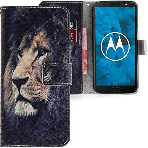CLM-Tech kompatibel mit Motorola Moto G6 Hülle, Tasche aus Kunstleder Löwe schwarz Mehrfarbig, PU Leder-Tasche für Moto G6 Lederhülle