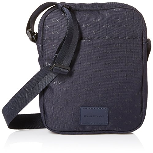Armani Exchange Herren Logo Silver Crossbody Bag Business Tasche, Blau (Navy), Einheitsgröße