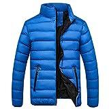 Xmiral Herren Jacke Mantel Zipper Pocket Down Daunenjacke Stehkragen Outwear Tops (XXL,Blau)