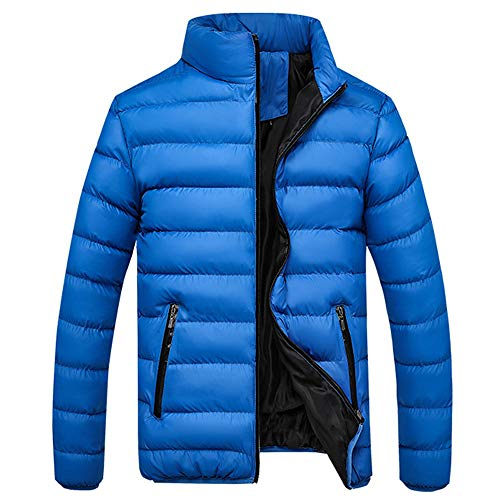 Mantel Zipper Pocket Down Daunenjacke Stehkragen Outwear Tops (3XL,Blau) ()