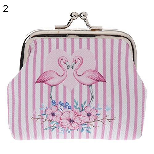 AchidistviQ Cartoon Flamingo Kunstleder Münze Geldbörse Tasche Kopfhörer Schlüssel Fall Frauen Mini Wallet 2#