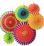SUNBEAUTY 6er Set Tissue Papier Fans Fächer Dekoration für Party
