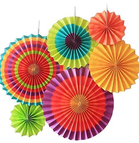 SUNBEAUTY 6er Set Tissue Papier Fans Fächer Dekoration für Party Feier Hochzeit Geburtstag Kombination 21cm 31cm 42cm (Karneval Party Dekorationen)