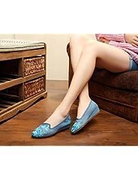 ZQ Gestickte Schuhe, Leinen, Sehnensohle, ethnischer Stil, weibliche Schuhe, Mode, bequem, doppelter Boden , beige , 37