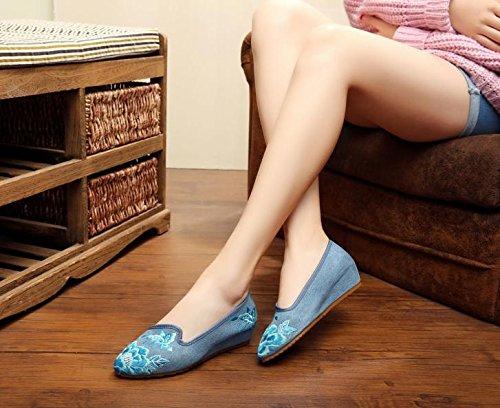 DESY Scarpe ricamate, suola a tendina, stile etnico, scarpe da donna, moda, comodo, casual all'interno dell'aumento blue jeans