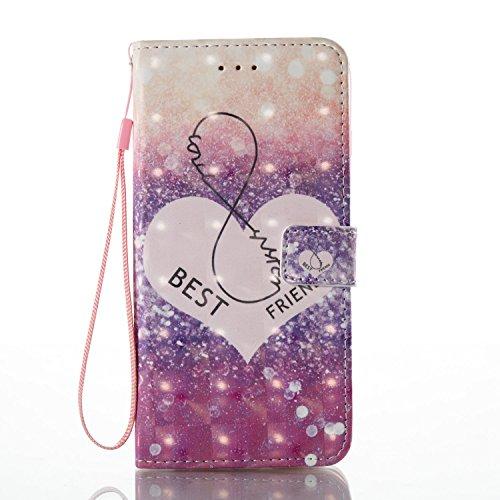 Qiaogle Téléphone Coque - PU Cuir rabat Wallet Housse Case pour Apple iPhone 5 / 5G / 5S / 5SE (4.0 Pouce) - YB58 / Bleu Attrapeur de rêves YB54 / Best Friends