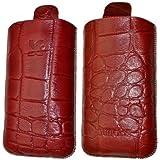 Original Suncase Echt Ledertasche für Samsung GT i5510 Galaxy 551 in croco-rot