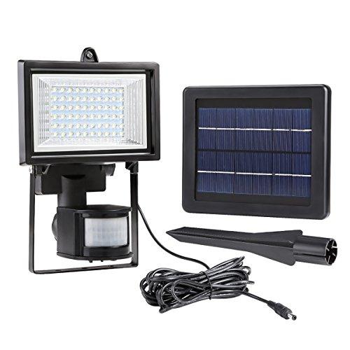 LE LED Fluter, Solarleuchte mit Bewegungsmelder,60 LEDs, Kaltweiß, 6000 Kelvin, Flutlicht Strahler für Veranda Garten Garagenhof, Aussenbeleuchtung