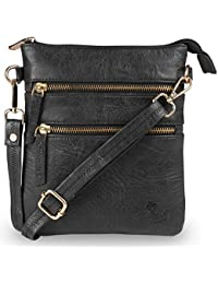 Qawach Black Color Women's Leather Sling Bag