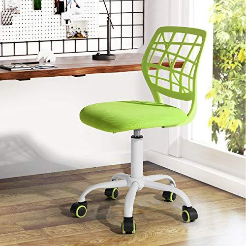 Bürostuhl Fanilife Drehstuhl Schreibtischstuhl Bürostuhl Kinder Arbeitsstuhl höhenverstellbar, gepolsterte Sitzflaeche aus Netz, Grün