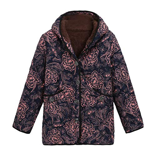 Damen Kurze Mäntel Damen Winter Warmer Parka Trenchcoat Mode Warm Outwear Blumendruck Mit Kapuze...