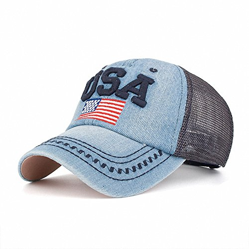 Women's Classic Vintage USA American Flag Embroidery Washed Denim Baseball Cap Adjustable Low Profile Dad Hat for Girl