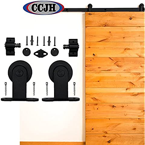 ccjh paese stile classico T in acciaio interno scorrevole porta in legno Barn Kit 1,5m 60Nero