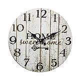 Rebecca Mobili Orologio Decorativo, Orologi a Muro, Home Sweet Home, Stile Shabby, Legno Bianco - Misure: Ø 33,8 cm x P 4 cm - Art. RE6151