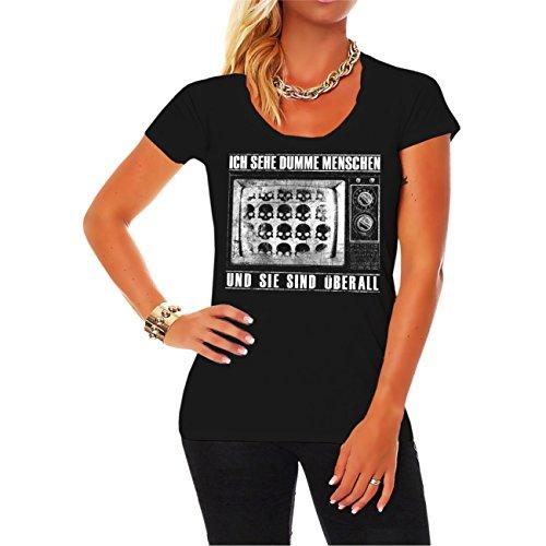 Frauen und Damen Shirt Ich sehe dumme Menschen (Dumm, T-shirt Lustig)
