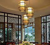 Die neue chinesische antike Esszimmer Restaurant China Vogelkäfig Kronleuchter Wind Zimmer Korridor Balkon Bambus Laternen, schwarzer Durchmesser 28cm Höhe 50cm