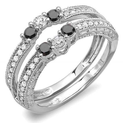 DazzlingRock Collection  -  18 Karat  Weißgold Rundschliff   Getöntes Weiß/Top Cape (K) schwarz Diamant Schwarzer Diamant  - Diamond Wrap Guard