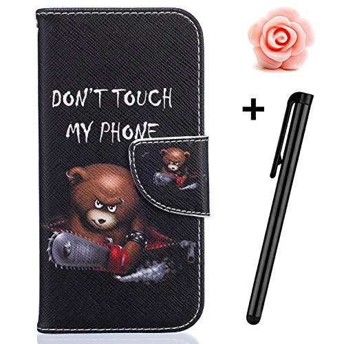 Custodia iPhone 7, custodia iPhone 7S a portafoglio, prodotto Toyym di alta qualità, decorazione con fiori/animali/personaggi, in ecopelle [chiusura magnetica] con tasche per carte, per iPhone Apple 7 Bear