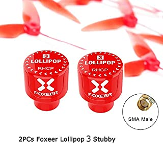 2PCs Foxeer Lollipop 3 Stubby 5.8GHz 2.5Dbi RHCP FPV Antenna SMA Red for FPV RC Drone Racing Models Spare Parts Accs