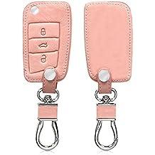 kwmobile Funda de cuero sintético para llave de 3 botones para coche VW Golf 7 MK7 - Cover protector en oro rosa Case para llave