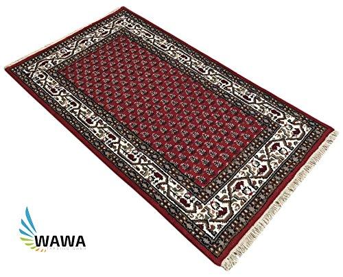 WAWA TEPPICHE Indo Mir Teppich 90X160 cm Handgeknüpft, Orientteppich ROT UND BRAUN 100% Schurwolle (ROT) -