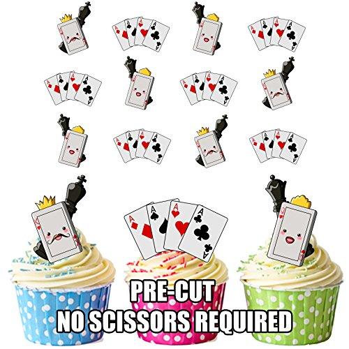 vorgeschnittenen King & Queen Spielkarten–Essbare Cupcake Topper/Kuchen Dekorationen (12Stück)