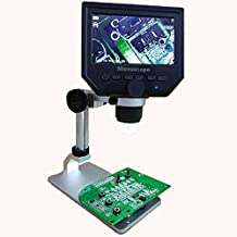 Mikroskop, M.Way Digitales USB Mikroskop, tragbar, HD 1-600x 3.6mp LCD-Mikroskop, einstellbarer Standfuß und stufenlose Vergrößerung mit 4.3 Zoll Display (Schwarz)