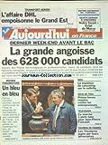 AUJOURD'HUI EN FRANCE [No 16414] du 13/06/1997 - TRANSPORT AERIEN - L'AFFAIRE DHL EMPOISONNE LE GRAND EST - AVANT LE BAC - LA GRANDE ANGOISSE - RENTREE PARLEMENTAIRE - NICE - LE MONITEUR DE CANYONING SUR LA SELLETTE - GRUE DE TOUL - PRISON FERME REQUISE CONTRE LES ENTREPRENEURS - JEAN-PIERRE FOUCAULT - LES SPORTS - TOURNOI DE FRANCE...