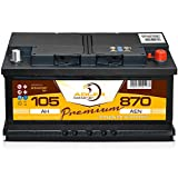 PKW Starter Auto Batterie 12 V / 105 Ah - 870 A/EN Adler ers. 85 88 90 92 95 100 Ah