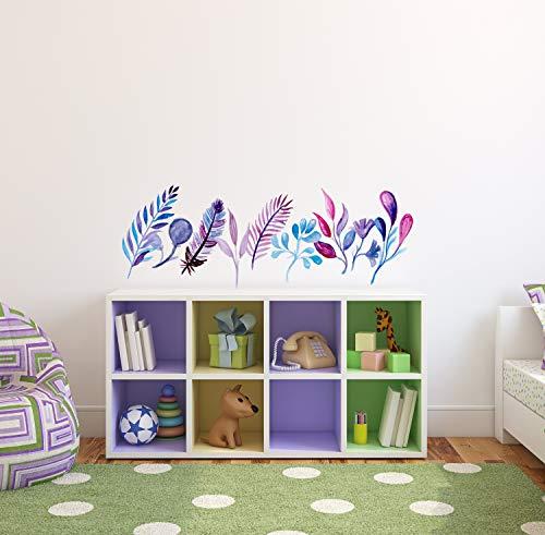 Aquarell Grenze Wanddekoration Blumen und Bl?tter handbemalt f¨¹hlen Vinyl Design jeder Raum Dekor lila blaue Schattierungen Wandtattoo CG1268