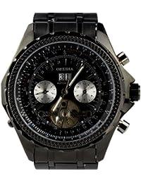 ORKINA negro mecánica funda acero inoxidable con Auto-entorchado en hombre incluye calendario analógico reloj con