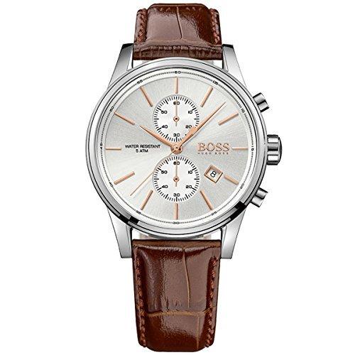 Hugo Boss Jet Silber/Braun Leder Analog Chronograph Quarz HERREN-Armbanduhr 1513280von Hugo Boss (Hugo Boss Leder Braun)