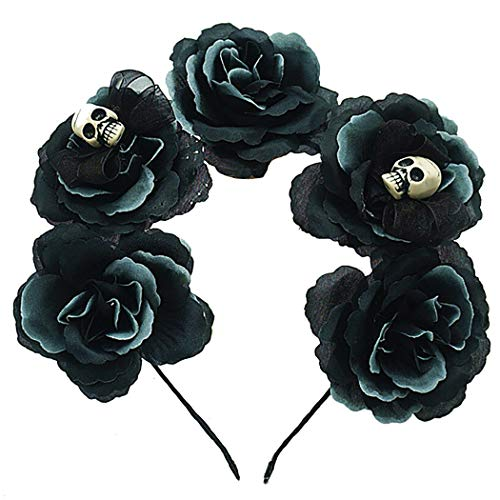 ZOYLINK Halloween Haarband Blume Skelett Kopf Dekor Party Stirnband Kostüm Stirnband