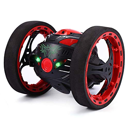 MAyouth Jumping Car, Wireless Remote Control Stunt Car with 2.4Ghz and LED Headlights Double Sided Tumbling and Extreme High Speed Rotating (Black) Black Extended Battery Support