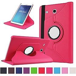 Coque Galaxy Tab E 9.6 - 360 degrés Rotation Coque en Cuir pour Samsung Galaxy Tab E 9.6 Pouces SM-T560 / T561 Housse de protection Etui avec la fonction de stand Case/Cover (Hot Rose)