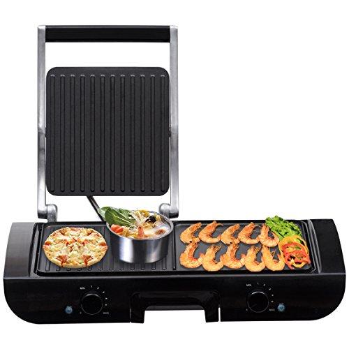 COSTWAY Kontaktgrill Grill Raclettegrill Elektrogrill Partygrill Tischgrill Multigrill Panini-Maker Elektrischer Sandwichtoaster Sandwich-Grill 1500W Thermostat Antihaftbeschichtung
